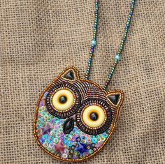 Beads and Sequin Owl Leather Brooch Embellish with