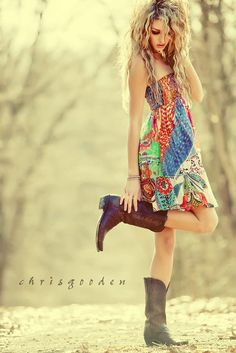 Love the summer dress and boots