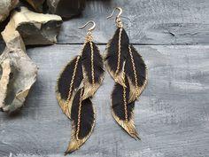 Suede leather earrings. Long feather earrings. by VelmaJewelry