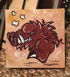 "Arkansas Razorback Painting New Signed Licensed 6 x 6"" | eBay"