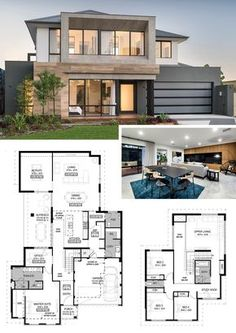 Two storey house plans - Two Storey Floorplan The Odyssey by National Homes Modern House Floor Plans, Porch House Plans, House Layout Plans, Contemporary House Plans, Craftsman House Plans, Bedroom House Plans, House Layouts, Modern House Design, Home Design Plans