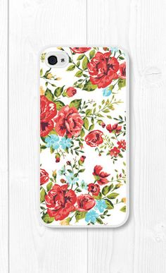 Red Floral iPhone Case Floral iPhone 4 Case Floral