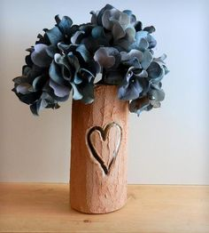 Carved Heart Vase | Cluster a bunch of your favorite greenery in the top of this h... | Vases