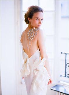 Stunning back wedding dress | Image by Le Secret d'Audrey, see more http://www.frenchweddingstyle.com/paris-wedding-inspiration/