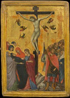 June 9, 1311: Duccio di Buoninsegna's Maestà altarpiece is unveiled in the cathedral of Siena.  Duccio di Buoninsegna, The Crucifixion, ca.1315.  Tempera and gold on wood.  Gift of Thomas Jefferson Bryan, New-York Historical Society, 1867.14.