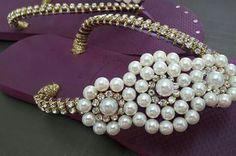 Flip Flop Art, Flip Flops, Gisele, Huaraches, Pearl Necklace, Slippers, Pasta, Beads, Handmade