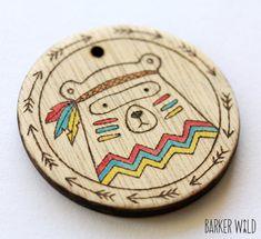 Tribal Bear Pendant  Watercolour Pyrography Wearable by BarkerWild barkerwild.com