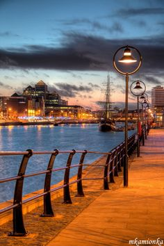 Walk along the river Liffey in Dublin, Ireland