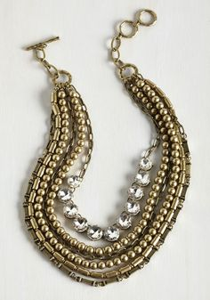 Yes You Glam Necklace in Rhinestone. Wondering if you can sport this statement necklace with that look?  #modcloth