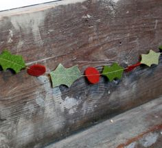 DIY Christmas party decor - Christmas Garland Felt Holly Rustic HandCut by thecleverlife Noel Christmas, Winter Christmas, Handmade Christmas, Christmas Ornaments, Christmas Party Decorations Diy, 242, Theme Noel, Christmas Inspiration, Mobiles