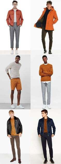 Men's How To Wear Orange Outfit Inspiration Lookbook