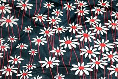 Vintage 1940s Rayon Print Fabric - Black with Daisy Floral Design - 1/2 yard