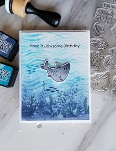 Winners Challenge - Fish/Fishing (The Male Room) Card Making Tutorials, Making Ideas, Nautical Cards, Beach Cards, Handmade Stamps, Making Greeting Cards, Mft Stamps, Ocean Themes, Birthday Cards For Men