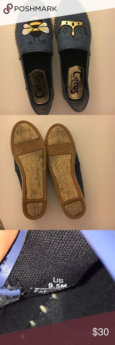Circus by Sam Edelman Queen Bee shoes Worn twice, Circus by Sam Edelman slip on shoes, blue, size 9.5. One shoe has a bee on it the other a crown to symbolize Queen Bee Circus by Sam Edelman Shoes Flats & Loafers