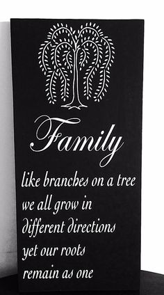 "Wooden Hand painted Family Sign with the saying, ""Family, like branches on a tree, we all grow in different directions, yet our roots remain as one.""   SimplebyBrooke, $39.99"