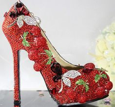 Handmade Red cherry Crystal Bridal Shoes Bling Rhinestone Party Prom Shoes Luxury Cinderella Shoes Platforms Wedding Pumps