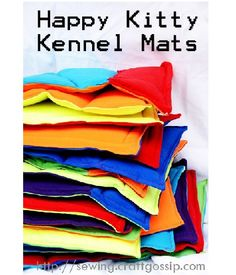 Easy project--uses colorful t-shirts to create these kennel mats for cats at your favorite local animal shelter! LOVE!