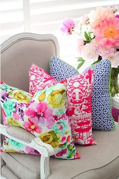 Bright printed pillows!