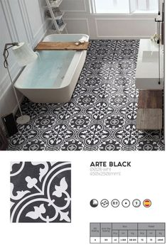 black and white floral pattern tile Arte black by Decobella tiles, SA We supply internationally. tile ( four tiles completes the pattern) One of our top sellers. Ideal for feature floors or walls. View our website for our collection. Black Tile Bathrooms, Guest Bathrooms, Bathroom Floor Tiles, Wall And Floor Tiles, Modern Bathroom, Kitchen Tile, Porcelain Insulator, Vintage Party Decorations, Arte Black