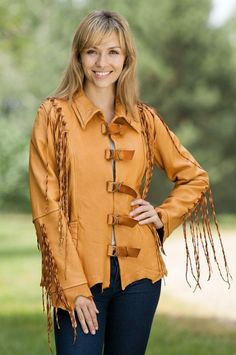 Lomasi Fringed Leather Jacket