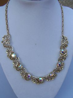 Vintage Coro Goldtone Necklace with Aurora by theglassfeathernest, $28.00