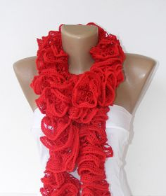 Hand Knitted Ruffled Scarf women scarves red 2013 NEW by seno, $25.00