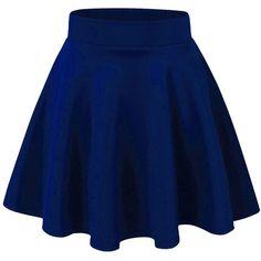 LaGirl Women's Basic Versatile Stretchy Flared Skater Skirt ($6.99) ❤ liked on Polyvore featuring skirts, skater skirt, blue circle skirt, stretchy skirt, flared hem skirt and flare skirt