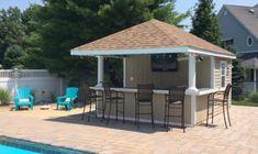Outdoor Cabana, Pool Cabana, Outdoor Pool, Pool Gazebo, Outdoor Bars, Pool Side Bar, Pool Bar, Pool House Designs, Backyard Pool Designs