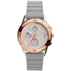 Fossil Gray Womens Modern Pursuit Iron Silicone Watch - Women's (859630 PYG) ❤ liked on Polyvore featuring jewelry, watches, grey, chronograph watches, fossil wrist watch, water resistant watches, gray jewelry and silicon watches
