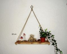 Hanging Rope Shelf, Rustic Pyramid Swing Shelf Charred — Sew Very Chic Hanging Rope Shelves, Floating Shelves, Mixed Fiber, Linseed Oil, House Plants, Pine, Shelf, Rustic, Contemporary