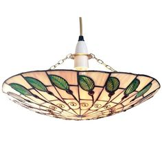 Lighting Web Co 16-inch Glass Uplighter, Green Leaf/ Peach