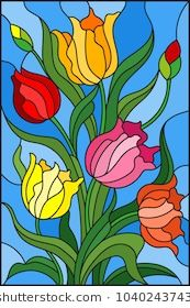 Illustration in stained glass style with a bouquet of colorful tulips on a blue background Stained Glass Quilt, Stained Glass Flowers, Faux Stained Glass, Stained Glass Designs, Stained Glass Projects, Stained Glass Patterns, Glass Painting Designs, Paint Designs, Mosaic Art