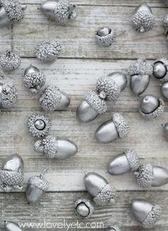holiday decor acorns liquid silver leaf, crafts, seasonal holiday decor. Maybe string them as a garland.