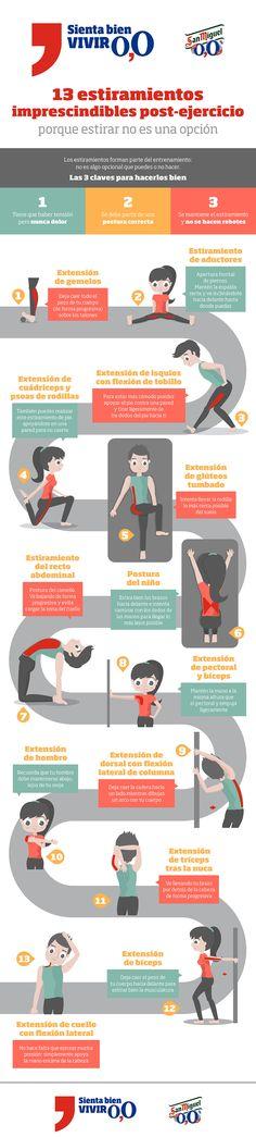 Infografía: 13 estiramientos imprescindibles tras hacer ejercicio by @ainaragm