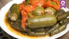 Grape leaves and zucchini stuffed with meat  ورق عنب باللحم مع كوسا