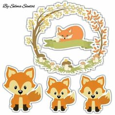 Fox Crafts, Arts And Crafts, Paper Crafts, Woodland Animals Theme, Woodland Baby, Forest Friends, Scrapbook Embellishments, Aesthetic Stickers, Animal Party