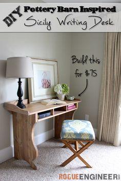 DIY Sicily Writing Desk Plans | Rogue Engineer | rogueengineer.com #DIYdeskplans #livingroomDIYplans