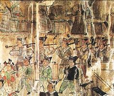 Goguryeo Tomb Mural - Military Procession.   Anak Tomb #3, 357 A.D.  North Korea, Hwanghae Province