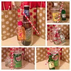 Mason jar holiday gifts. Customizable, personal, fun, and creative.   Start with the main beverage for the drink, add the nip to create your favorite cocktail. Finish it off with a pretty paper straw for decor tied together with twine to a mason jar of your choice.   #masonjarcocktails #masonjargifts #jaclynevents