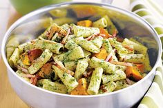 You can make the pesto for this hearty dish from scratch, or you could take a shortcut with a ready-made version. Either way, this pasta is a mid-week family pleaser.