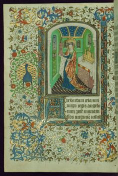 This Book of Hours was created in Hainaut, France, ca. 1450-60. The first owner was likely female, as a female donor is depicted on fol. 13v. Perhaps among the most noteworthy components of the book is the heraldry present throughout. Armorial shields were added early and identified by Michel Pastoureau as arms of a member of the Buves family of Picardy. There are two heraldic coats of arms: the first is of two gold lions, the second remains unidentified. While the armorial shields are…