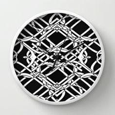 Celtic Art Wall Clock - $30.00  Available with black, white or natural frame and black or white hands.  #clock #time #interiors #celtic #fractal #art #pattern #black #white