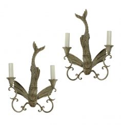 Pair Of Allegorical Fish Wall Lights