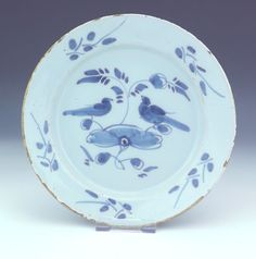 """Antique English Delft - Tin Glazed Bird Decorated Plate - Early!  Some nibbling and flaking to the glazed around the rim of the plate, commensurate with age.  Otherwise, in very good condition with no serious chips, cracks or restoration. It measures approximately 7½"""" in height. 132.99"""