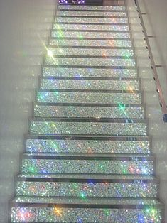 "glitter stairs. <3 to my ""woman cave"""