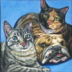 Two lovely cats and their dog friend, acrylic painted on a 12x12 canvas. #custompetportrait #petportraits #dogpainting #catpainting #petlovers #gifts #giftideas #petgifts #birthday #portraits #petpopart #popart #painting #art #pets