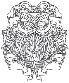 Owl colouring page. Owl Coloring Pages, Printable Coloring Pages, Coloring Sheets, Free Coloring, Coloring Books, Online Coloring, Urban Threads, Owl Art, Colorful Pictures