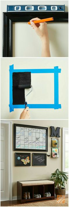 Get organized with dry-erase and chalkboard paint! Rust-Oleum makes it easy to paint a whiteboard or chalkboard directly onto your wall. The tutorial has the steps you'll need to tackle this simple DIY project. Family Command Center, Command Centers, Diy Home Decor, Room Decor, Chalkboard Paint, Chalkboard Drawings, Chalkboard Lettering, Chalk Paint, Easy Diy