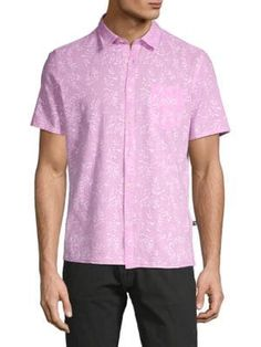 Civil Society Printed Short-sleeve Button-down Shirt In Pink Button Downs, Button Down Shirt, Civil Society, Printed Shorts, Civilization, Short Sleeves, Men Casual, Buttons, Prints