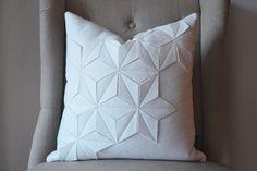 "Geometric Winter White Wool Felt 18""x18"" Pillow. $75.00, via Etsy."